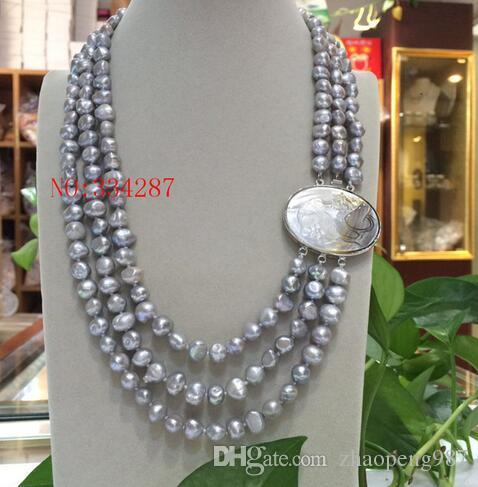 """NEW Baroque 18"""" 3row 8-9mm Pink grey white color multicolor pearls necklace seashell clasp"""