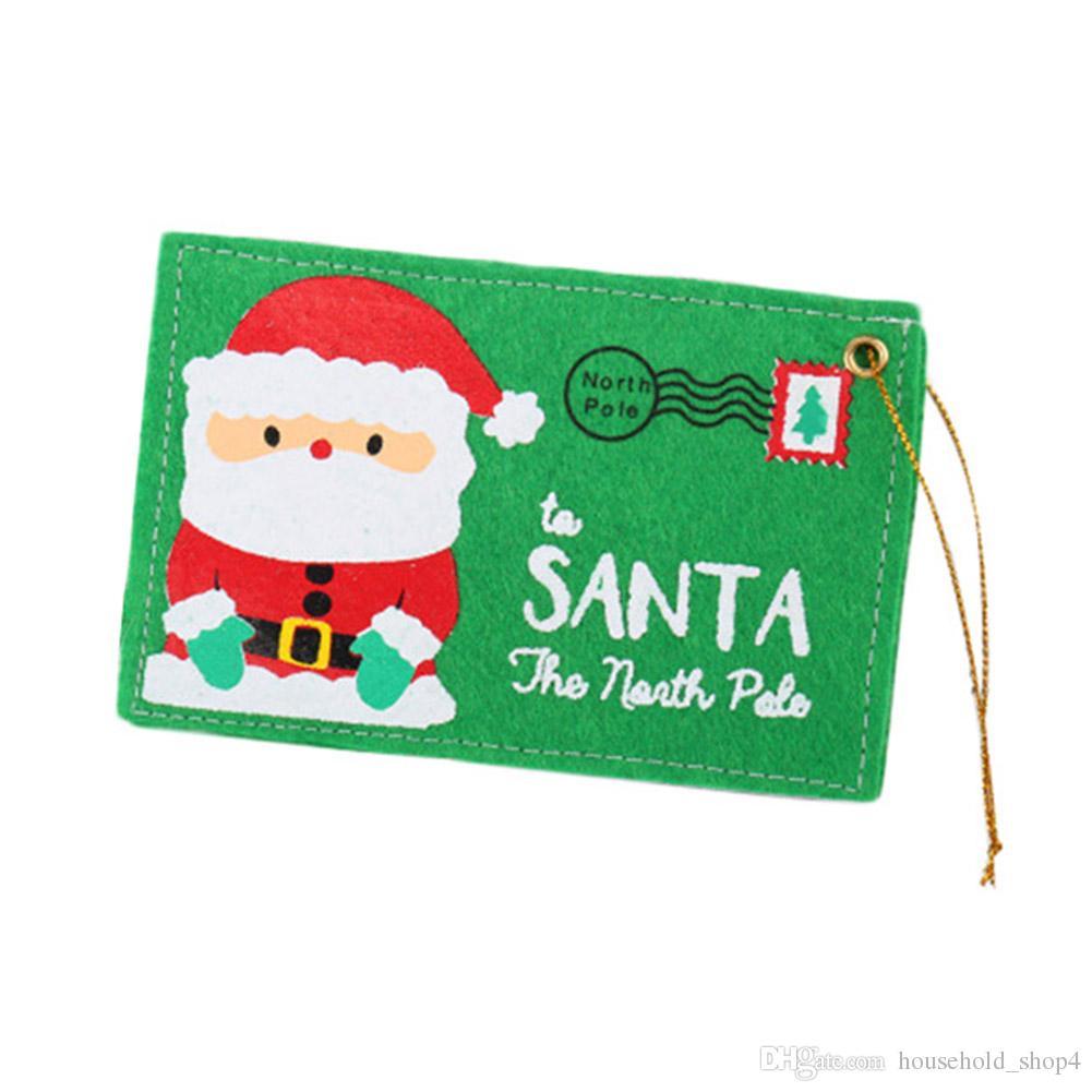 Войлок Рождество конверт сумки держатель открытки красный зеленый мешки для хранения украшения упаковка мешок рождественские принадлежности