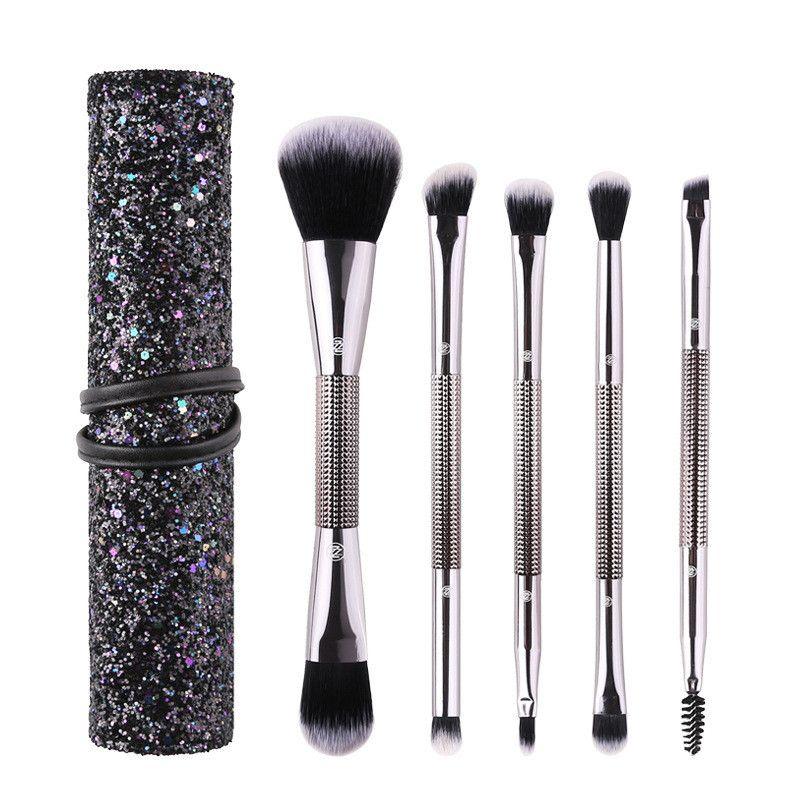5 teile / satz Doppelkopf Make-Up Pinsel Set Bling Diamant Powder Foundation Wimpern Eyeshadow Textmarker Make-Up Pinsel Mit Mode Zip Bag