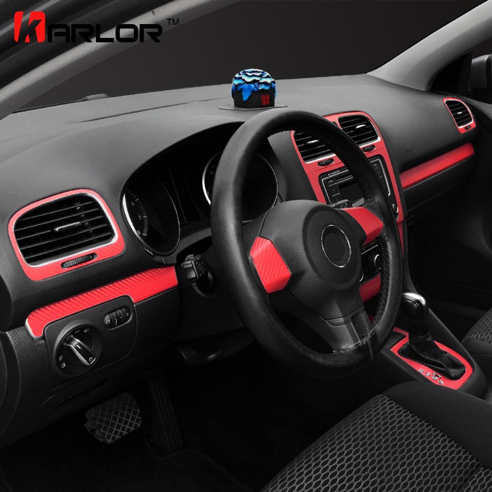 Toptan Otomobiller Için Karbon Fiber Merkezi Kontrol Pano Paneli Sticker Çıkartma Araba Styling Volkswagen VW Golf 6 MK6 GTI Aksesuarları