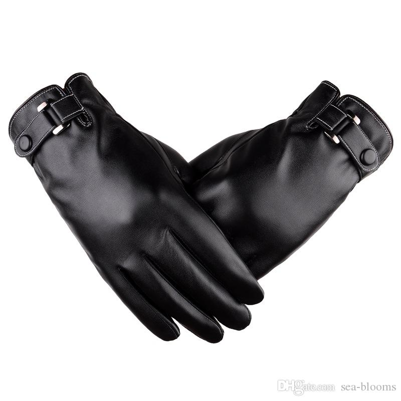 2 Colors Men Spring Autumn And Winter Texting PU Leather Thicken Velvet Gloves Riding Cold Weather Gloves Support FBA Drop Shipping H916R