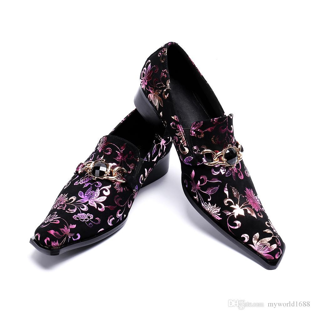 Новые цветочные элегантный пром обувь мужчины кожа бизнес мокасины работы поскользнуться на свадьбу Оксфорд бархат печати квартир