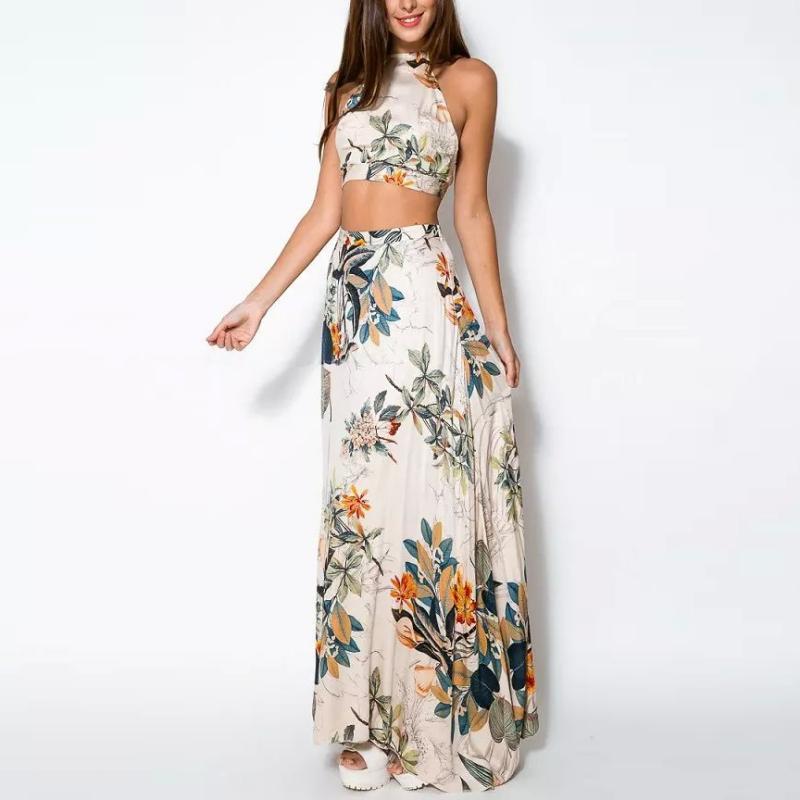 Mulheres verão bandagem floral casual vestido de praia top colheita + saia longa 2 pcs setyrd