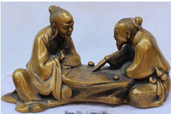 """+9""""Folk Chinese Fengshui Pure Bronze Two old man or woman elder play chess Statue"""