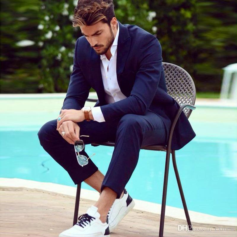 Navy Blue Men Suits For Wedding Slim