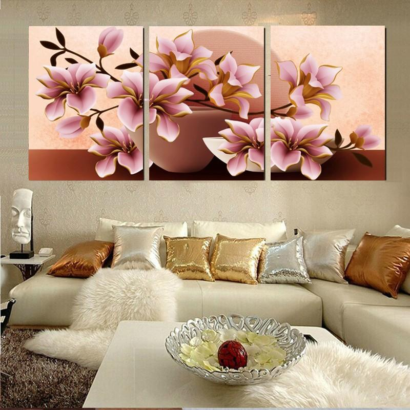 pink impression Flower Print Poster DIY Art Oil Wall portrait Picture 3 Panel Modern canvas prints painting Home Decoration
