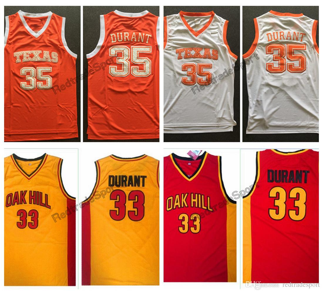 Vintage Texas Longhorns Kevin Durant College Basketball Jerseys 33 Kevin Durant Oak Hill High School Stitched Shirts