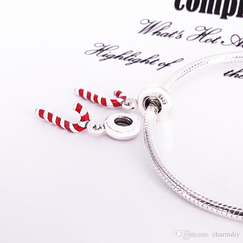 European Style Authentic 925 Sterling Silver Red Candy Cane Dangle Charm DIY Jewellery Fits For Bracelet 791193EN09
