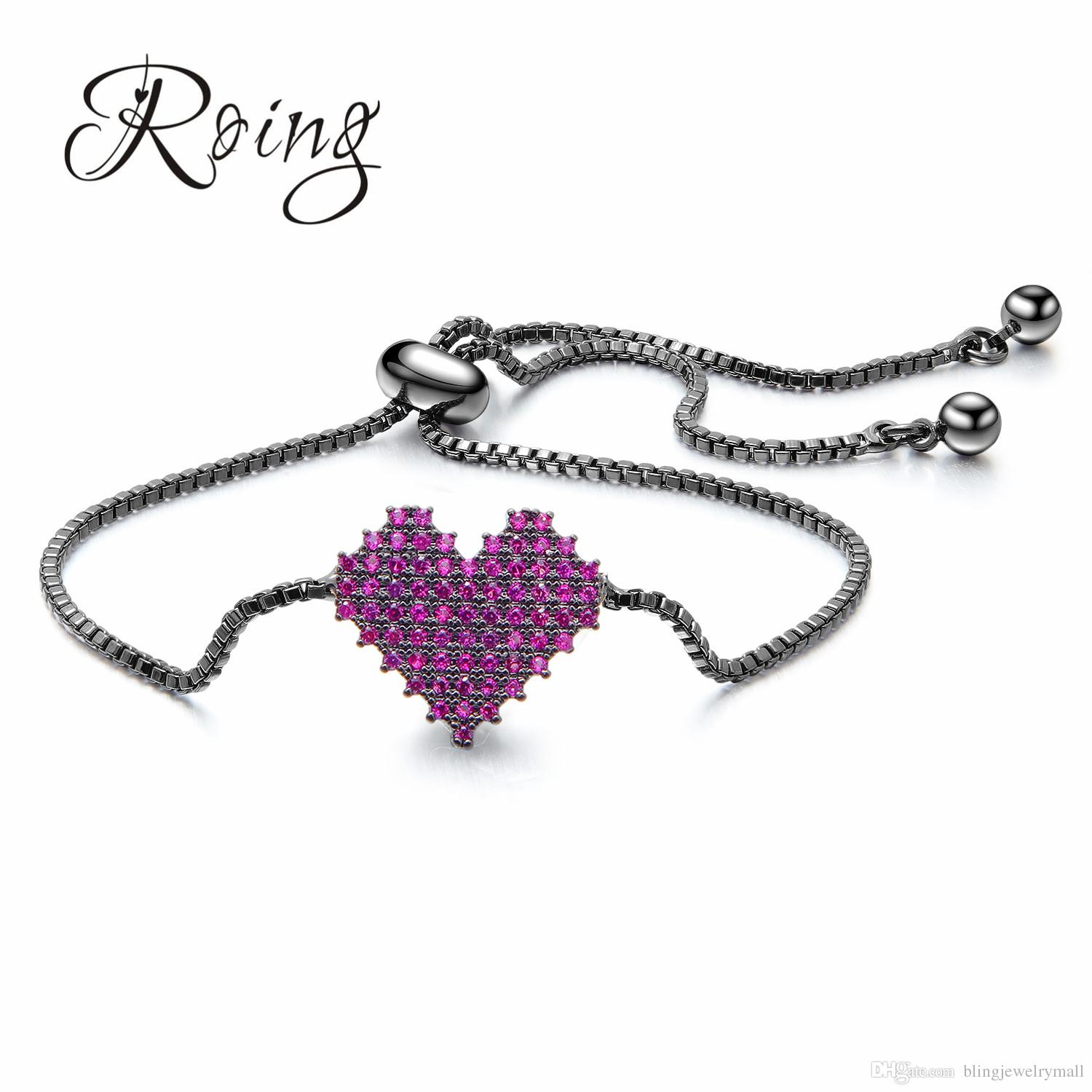 Sparkling Heart Cubic Zirconia Crystal Micro Pave Adjustable Chain Bracelets Rose Gold Silver Color For Women Jewelry Gift RO528