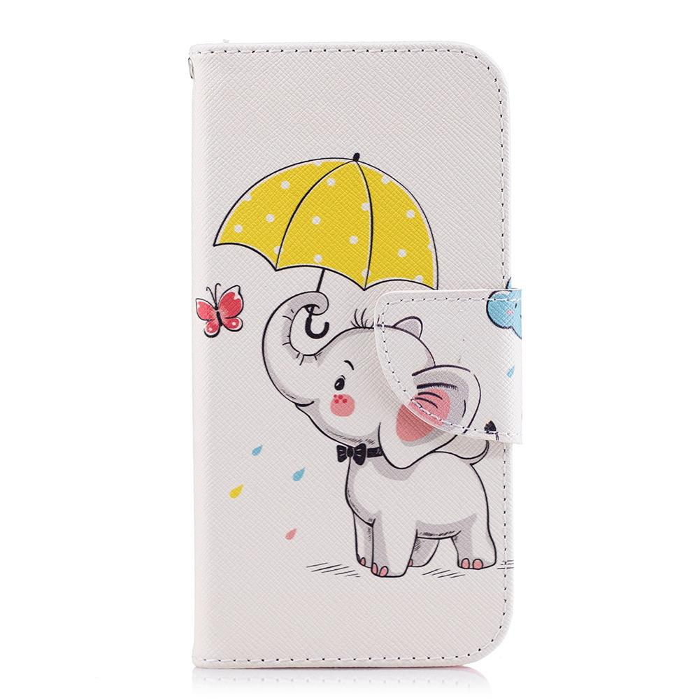 Lovely Elephant Hold Umbrella Cell Phone Flip Case Cover PU Leather with Wallet Card Holder Phone Stand 80 Models