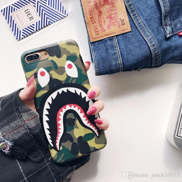 Tide brand camouflage shark mouth for iphone XS MAX mobile phone shell iPhone8 matte couple 6s/7 creative lanyard TPU cell phones