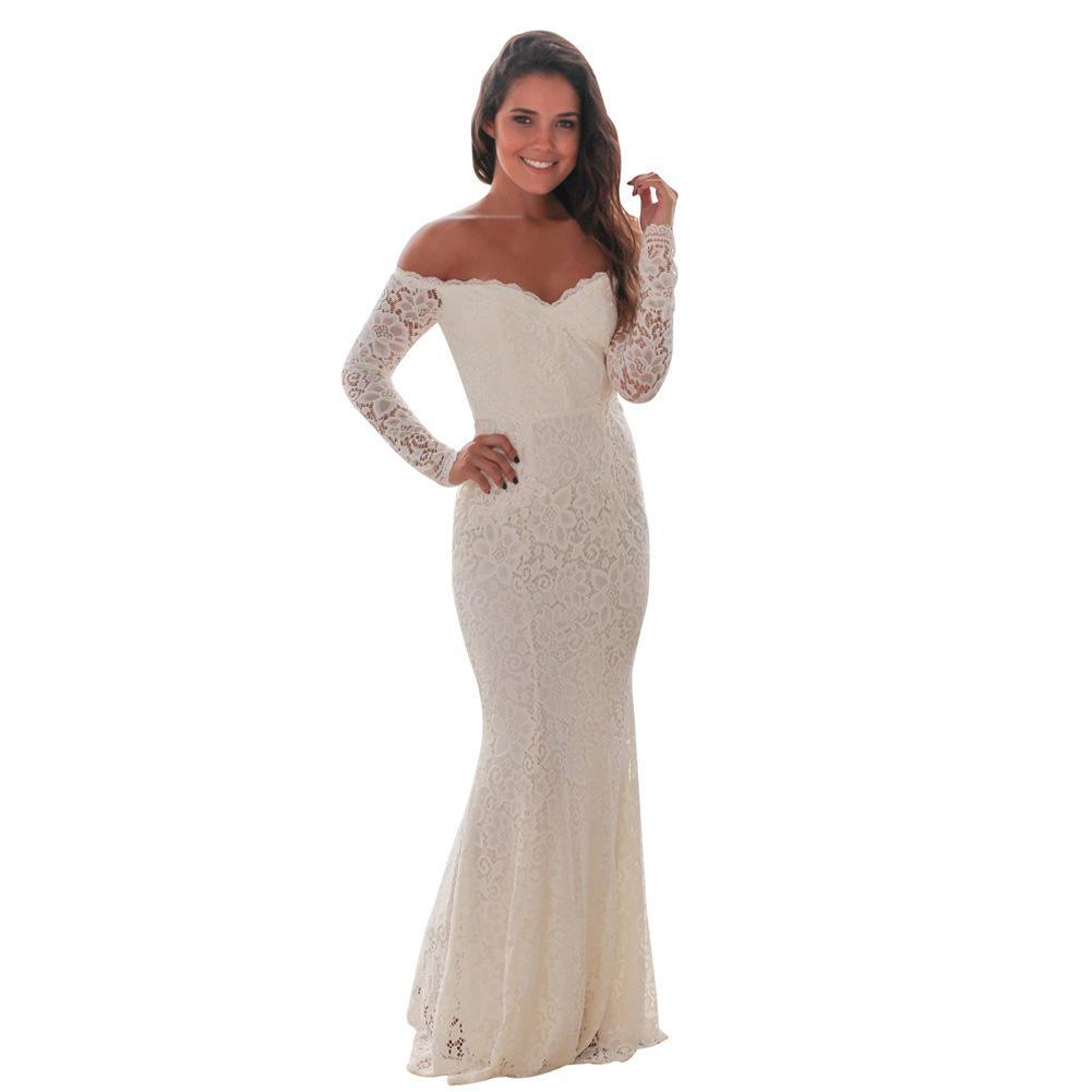 Großhandel Frauen Rot Kleid Langarm Party Meerjungfrau Kleider Perspektive  Floral Maxi Kittel Hochzeit Brautjungfer Robe Von Avive, 17,17 € Auf