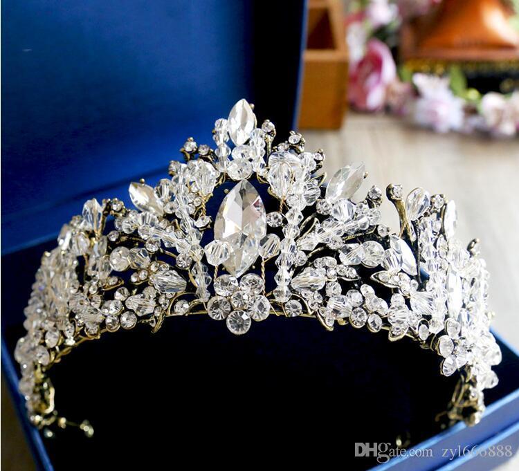 Хрустальный орнамент для волос бронзовая античная барочная корона бриллиантовые аксессуары