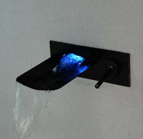 شحن مجاني الأسود النفط مفروك led شلال صنبور الحمام حوض صنبور بالوعة خلاط جدار الخيالة led بالوعة