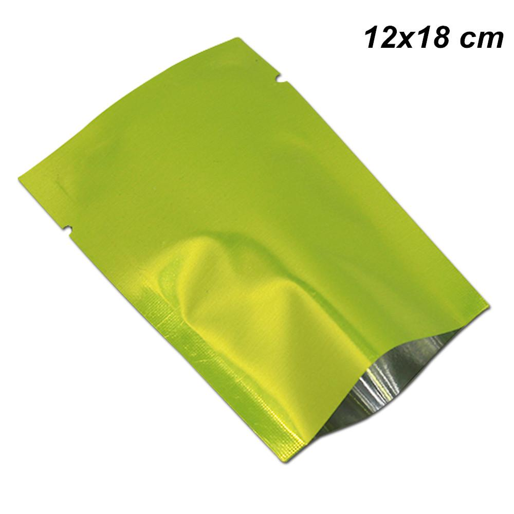 100 шт. 12x18 см зеленый алюминиевая фольга с открытым верхом упаковка сумки пищевой вакуум майлар упаковка мешок тепла запечатанный кофе чай порошок мешки для хранения