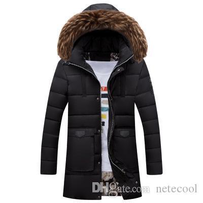 Hombres Invierno Largo Parka Hombres Chaqueta Abrigo Outerwear Fashion Hood Acolchado Acoldado Acolchado Cálido Cuello Masculino Cuello de piel Capucha Cascular al Por Mayor