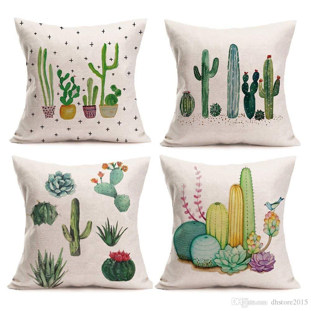 Plantes Succulentes Vertes Cactus Fibre De Lin Fibre De Coton Home Décor Housse de Coussin Coussin 18 x 18 Pouces Lot de 4