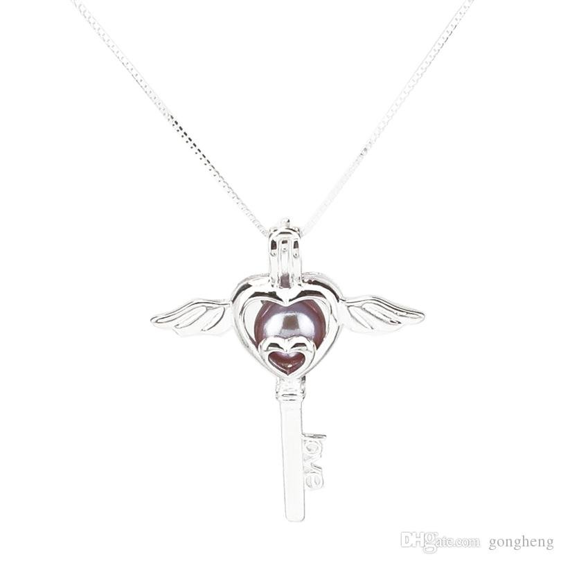 925 Sterling Silver Pick a Pearl Cage Heart Key Wing Locket Pendant Necklace Boutique Lady Gift