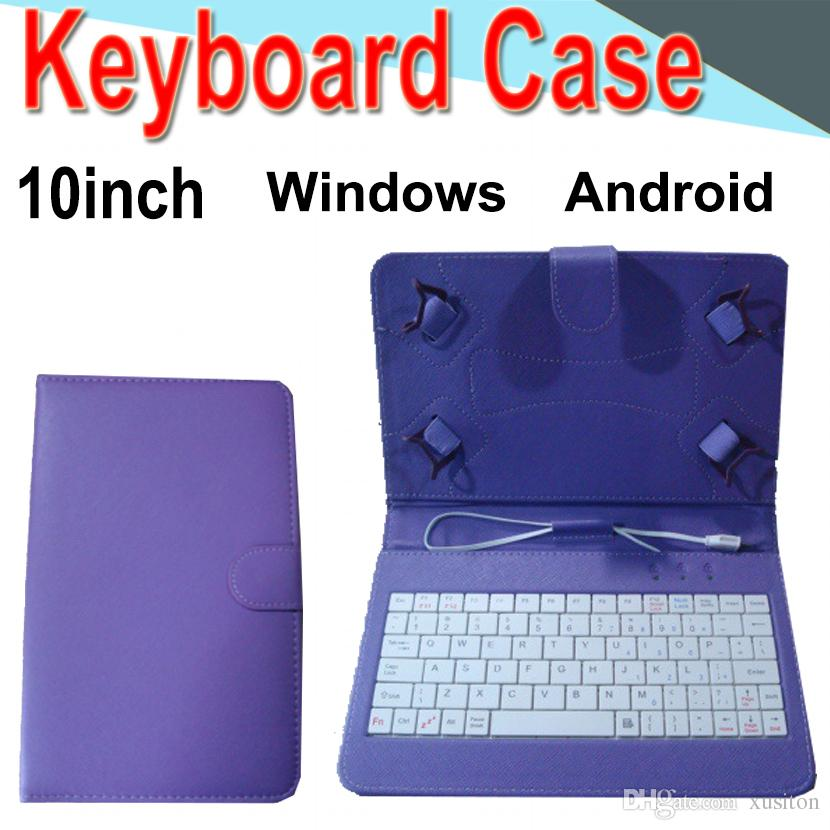 10inch Wire Keyboard Case Cover for Android Windows Ultra Thin Wireless ABS Keyboard PU Case Universal Mobile Phone XPT-3
