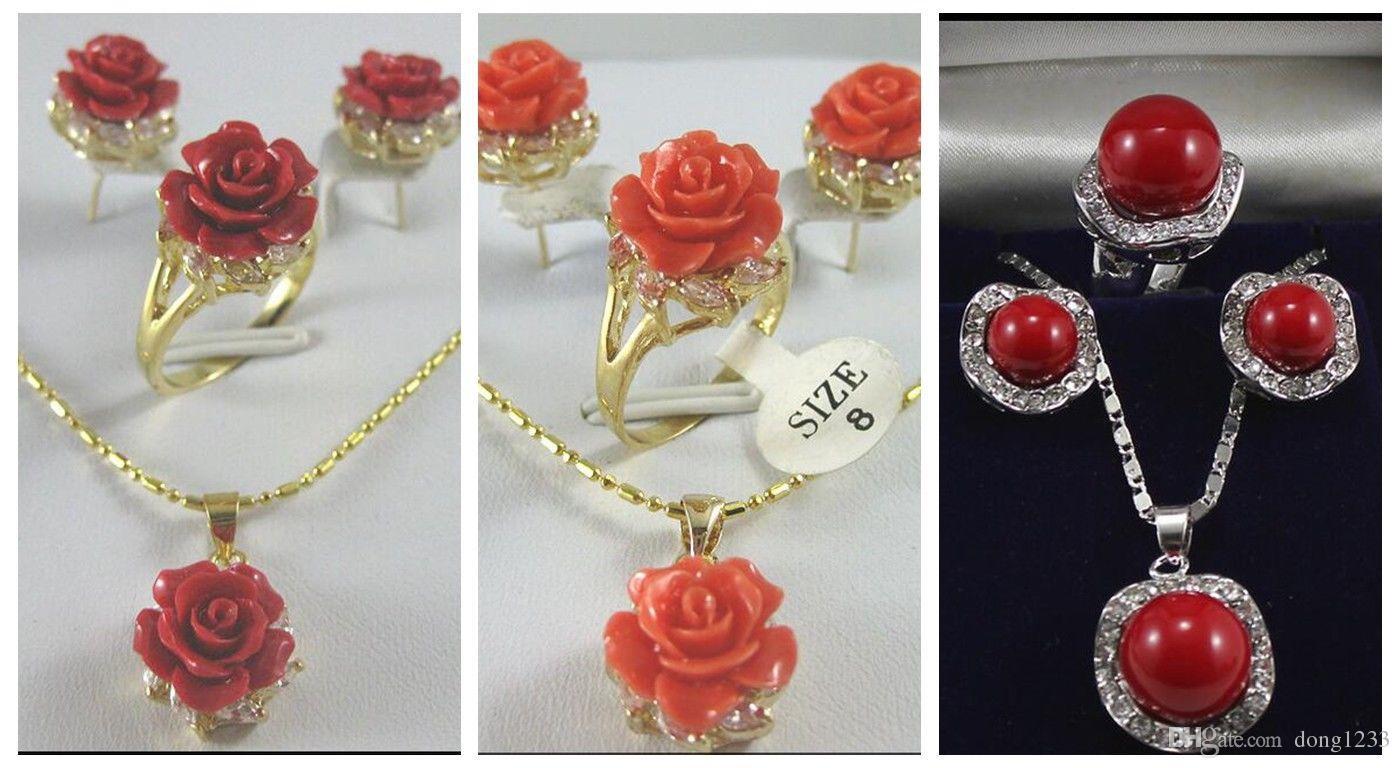 12MM colore rosa / rosso corallo intagliato Fiore impostato Anello Orecchini Collana