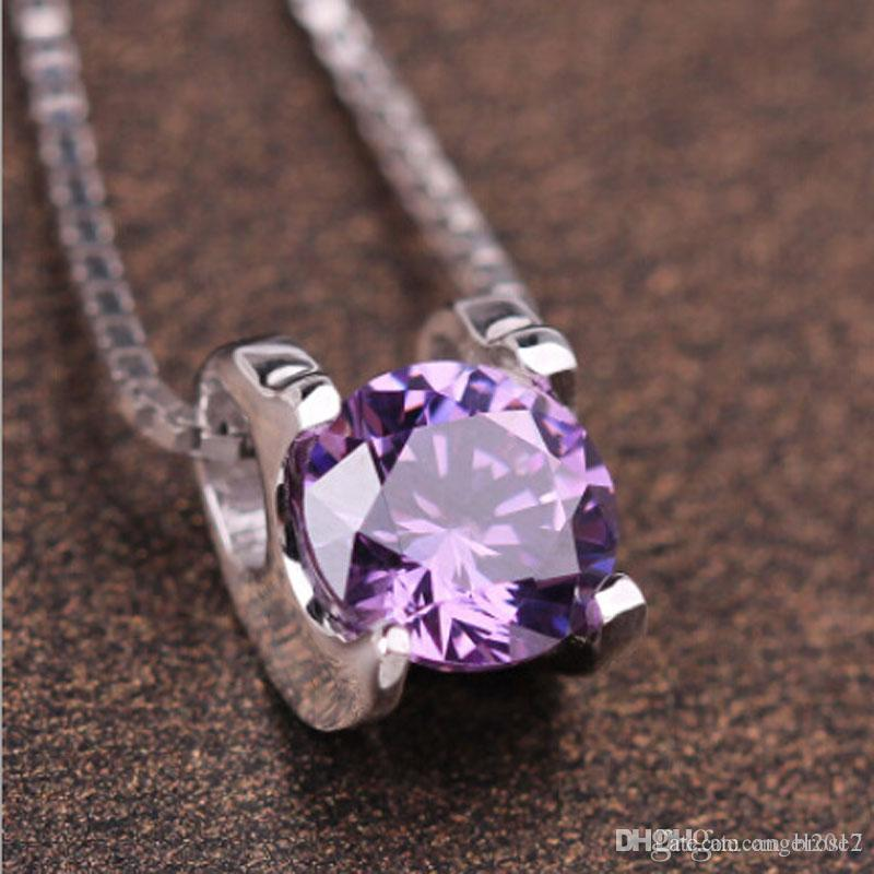Inlay zircon ladies necklace short clavicle Korean fashion amethyst pendants Europe and the United States jewelry