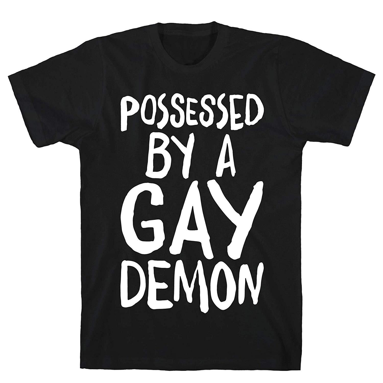 LookHUMAN posseduto da un demone Gay Bianco Stampa Cotton Tee Uomo Nero