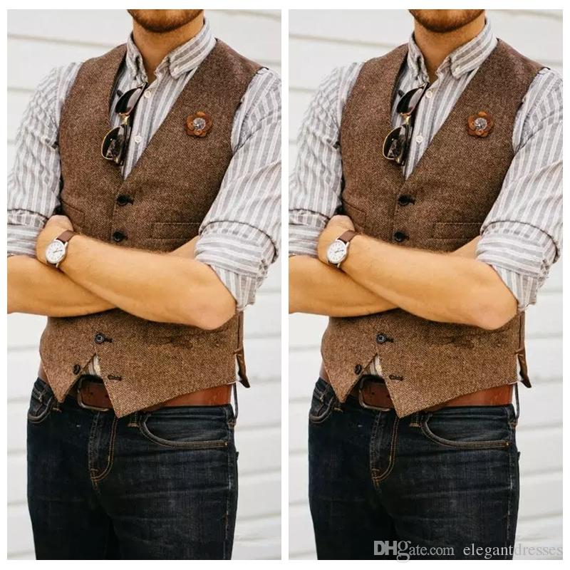 Formalne kamizelki pana młodego gospodarstwa wełna wełna w stylu Anglia kamizelki Custom 2021 Slim Fit Mens Suit Kamizelka Prom Ślubna Kamizelka Herringbone Tweed