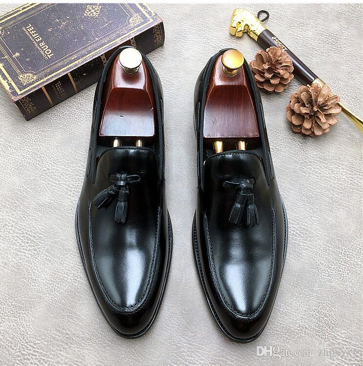 Nouveaux hommes en cuir de mode chaussures plates brun brillant hommes d'affaires habillent chaussures de mariage en cuir 1H40