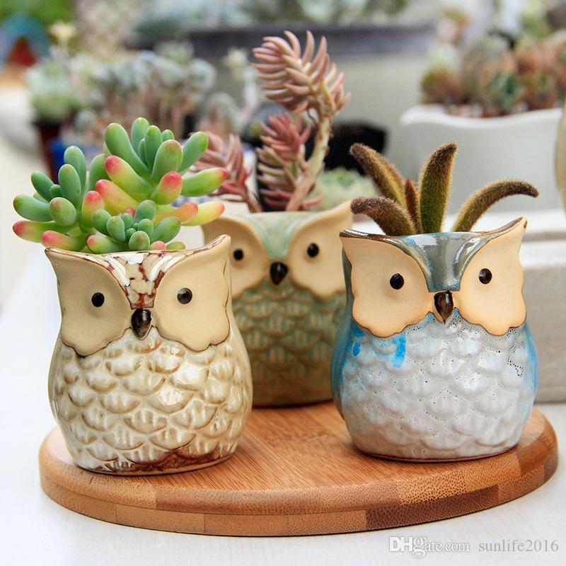 2020 Desktop Pot Ceramic Cute Owl Flower Pot Clay Succulent Plants
