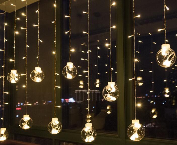 أضواء الإبداعية الخلفية والحانات الجليد، والمصابيح الكرة، والمصابيح المزخرفة، والفوانيس الحمراء، أضواء LED والأضواء الساطعة، النجوم أضواء الستار.