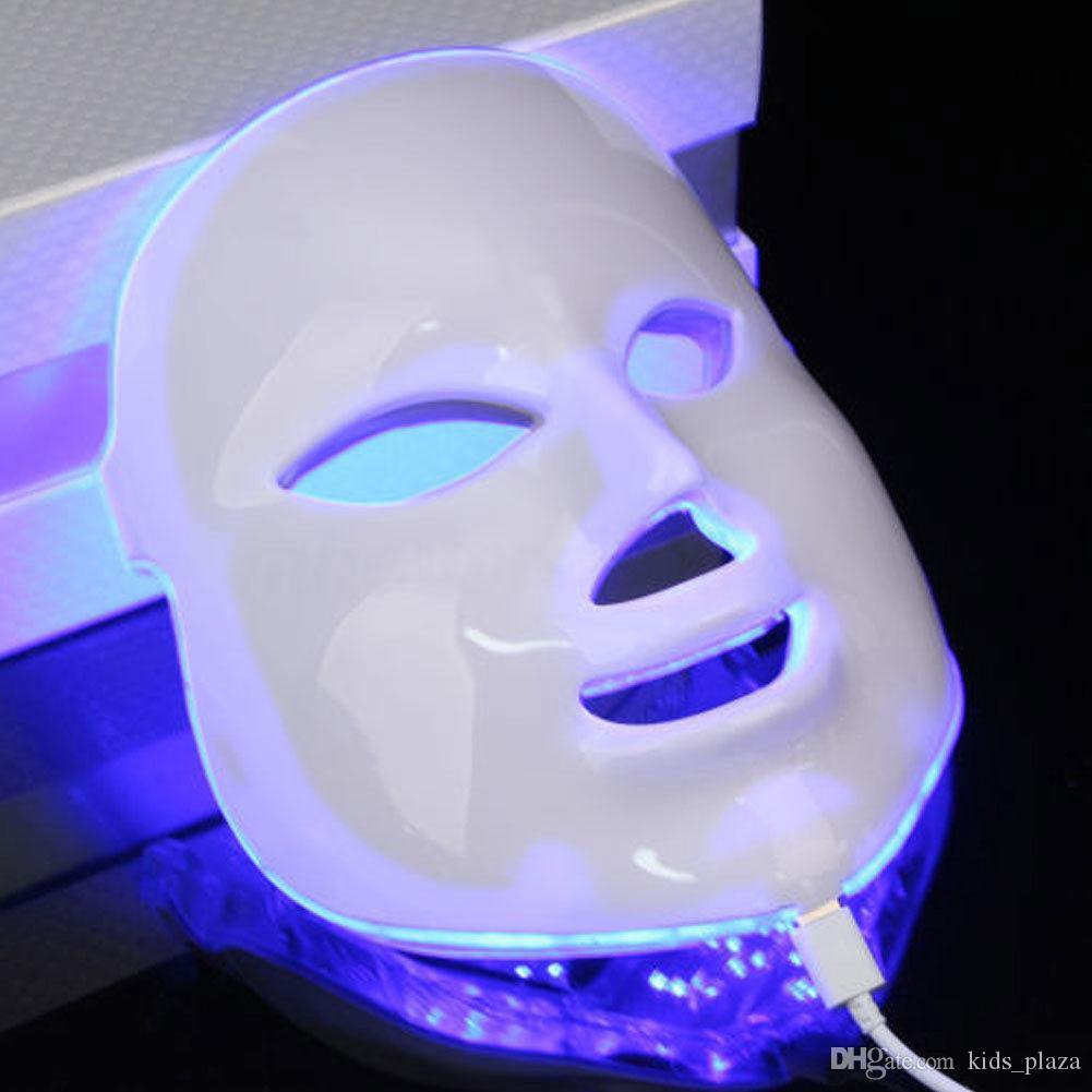 Coreano 7 colori LED Photodynamic Facial Mask Mask Cura Anti-Acne Skin Stringing Ringiovanimento rughe Remover Attrezzature di bellezza