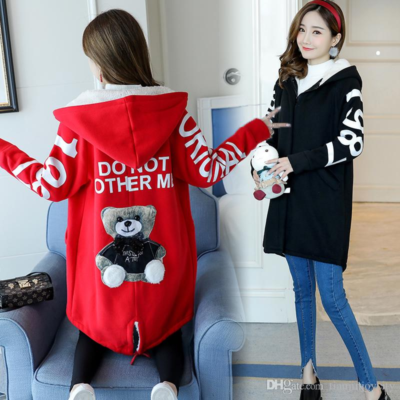 Cartoon Winter Outerwear Coats Maternity Coat Jackets for Pregnant Women Velvet Warm Maternity Clothing Pregnancy Clothes