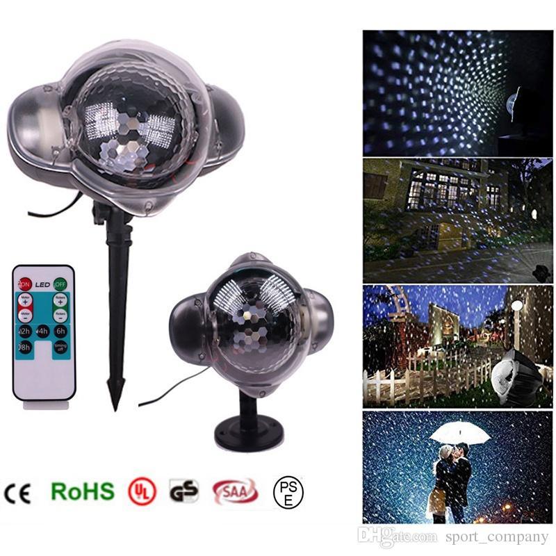 MINI 크리스마스 레이저 눈송이 프로젝터 가벼운 옥외 방수 이동 눈 LED 디스코 빛 가정 옥외 크리스마스 훈장