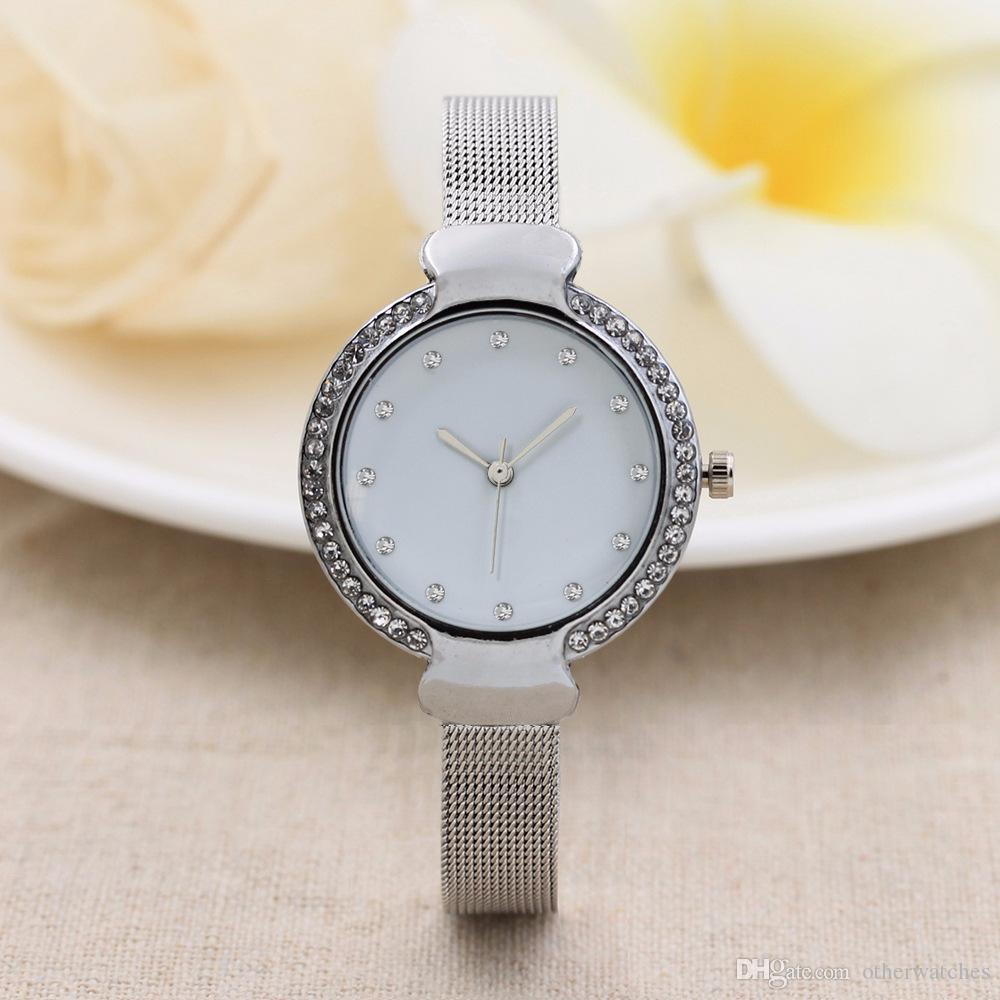 Diamond head scale no mark 10 head steel band watch с обеих сторон алмазные женские часы
