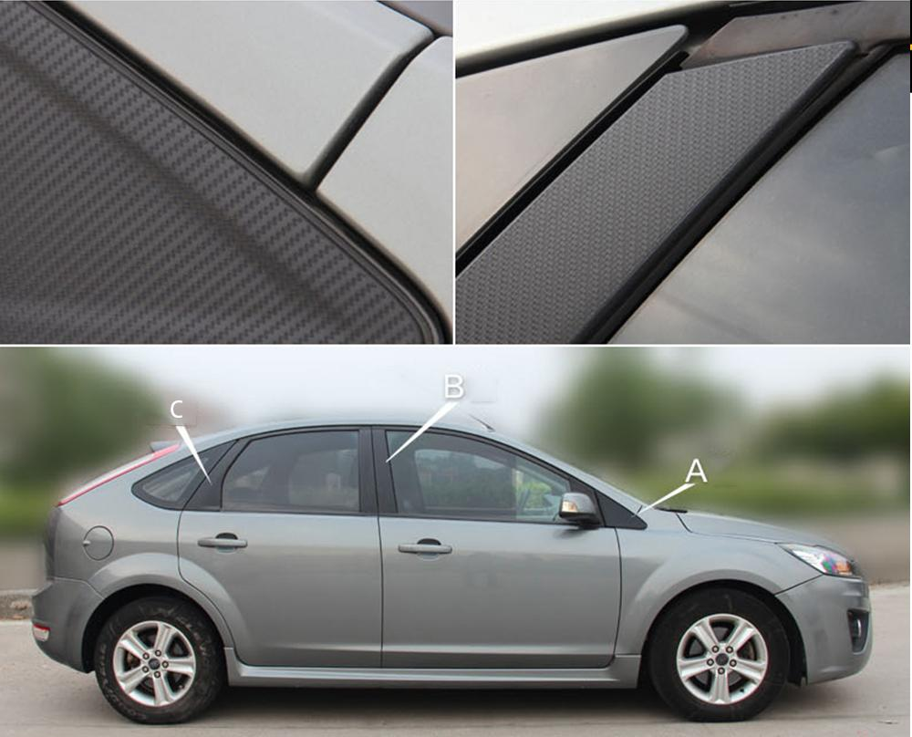 wholesale Auto Window Frame ABC Pillar Carbon Fiber Protection Film Car-styling Sticker And Decal For Ford Focus MK2 2006-2015 Accessories