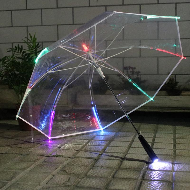 Прямые продажи от производителя Светодиодный зонт Цветной фонарик Зонт POE прозрачный прямой барный зонт
