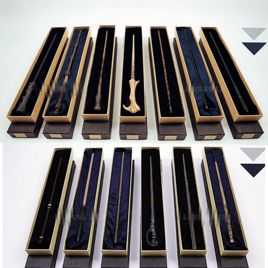 13 تصميم المعادن الأساسية هاري بوتر العصا السحرية مع هدية مربع أطفال العصا لعب هاري بوتر تأثيري العصا السحرية KKA4851