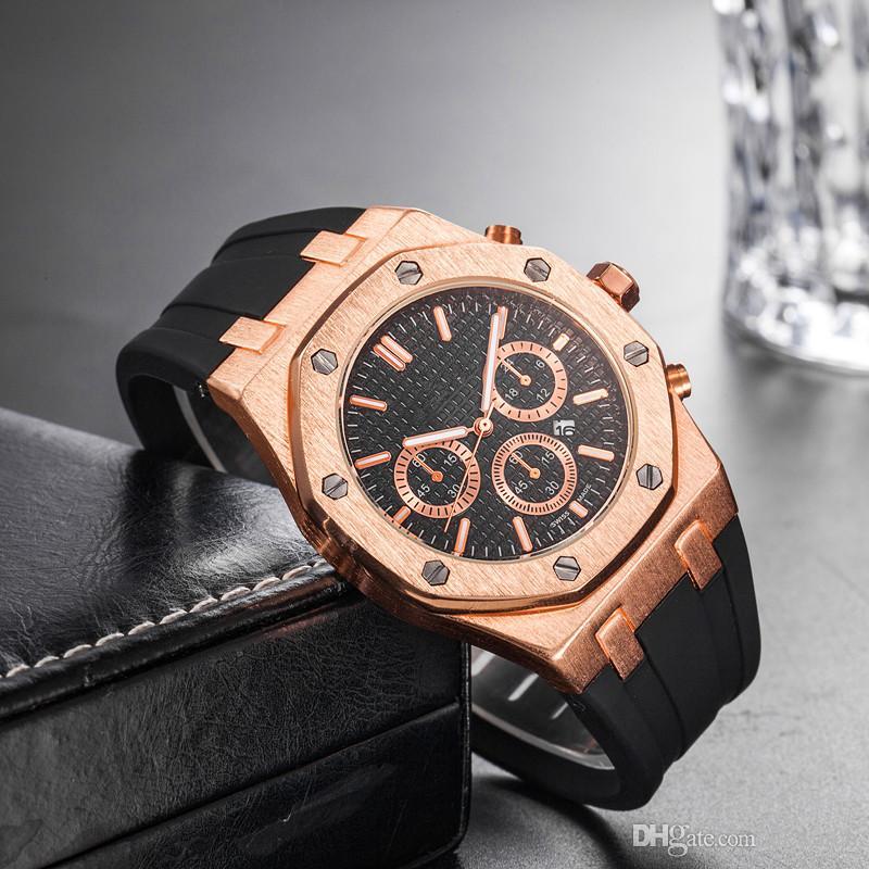 Prix de gros pas cher Montre de poignet Sport Sport 45mm Quartz Montre Homme Horloge avec bande de caoutchouc offshore