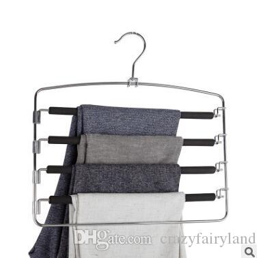 Anti Slip Sponge Clothes Hanger Rack Trousers Hanger Magic Pants Clothes Closet Belt Holder Rack Room Organizer and Storage Accessories