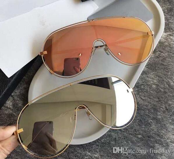 Diseñador de marca High Women Gafas de sol One Piece Sun Glass Calidad de lujo Sunglass Men Case Steampunk Womens 7022 Gafas de sol con 2018 Ogshv