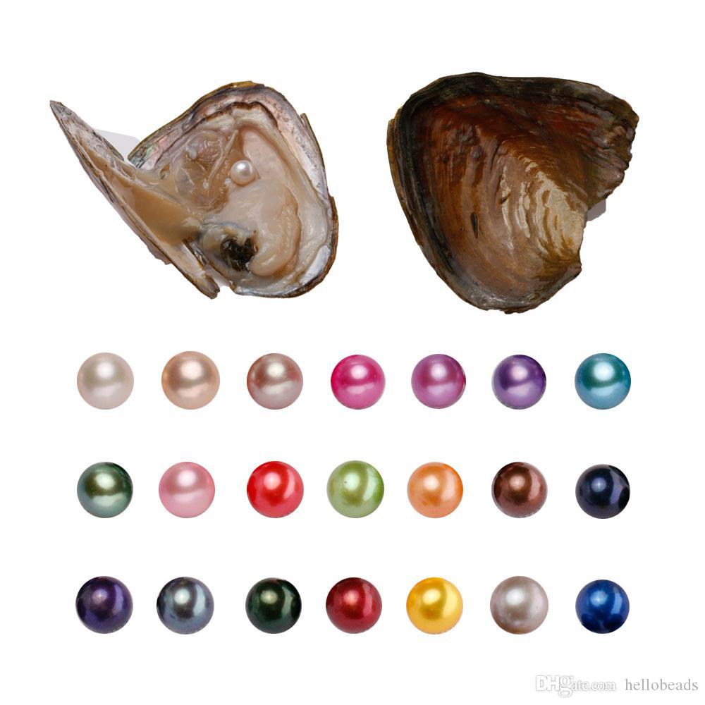 Yuvarlak Oyster Pearl 6-7mm 2018 yeni 20 Mix renk büyük Tatlı su Hediye DIY Doğal İnci Gevşek toptan Packaging süslemeler Vakum boncuk