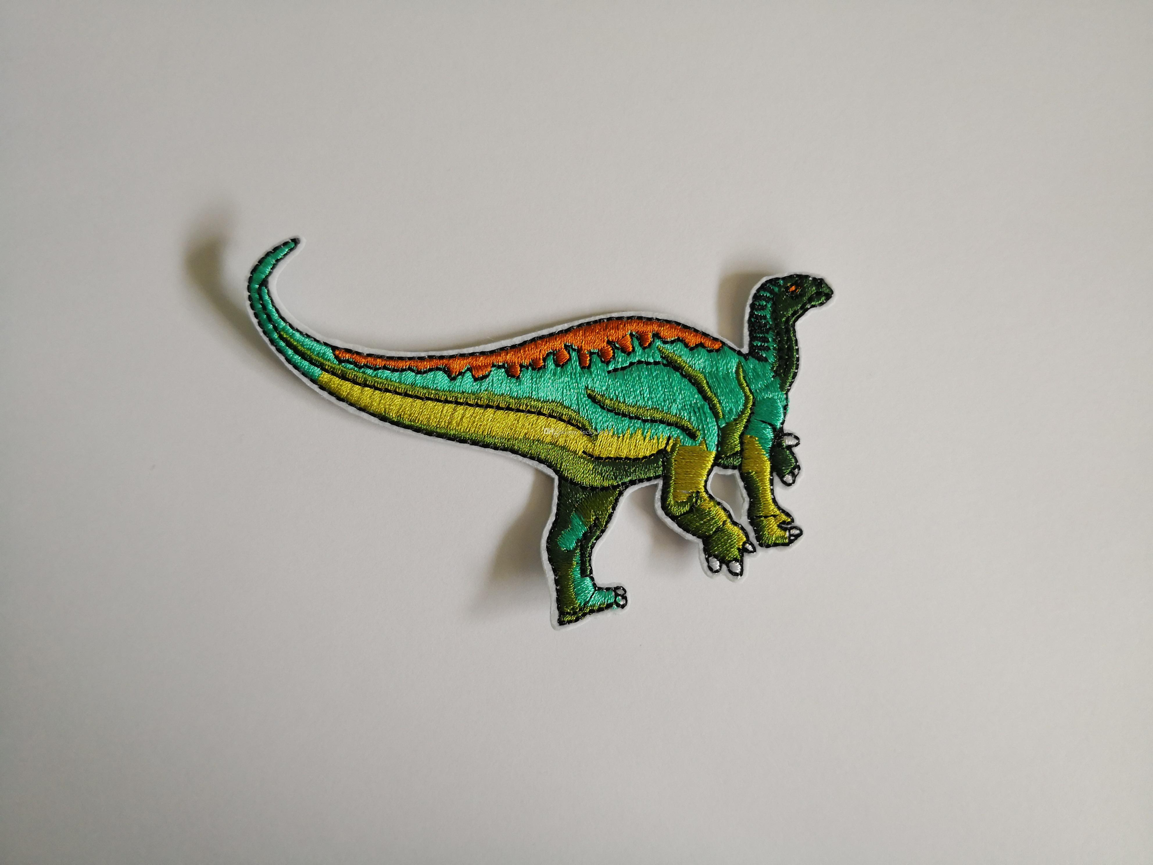 Cool Green Dinosaur Patch Iron on Embroidered Sewing Applique safety management describe Gift shirt bag trousers coat Vest Clothes