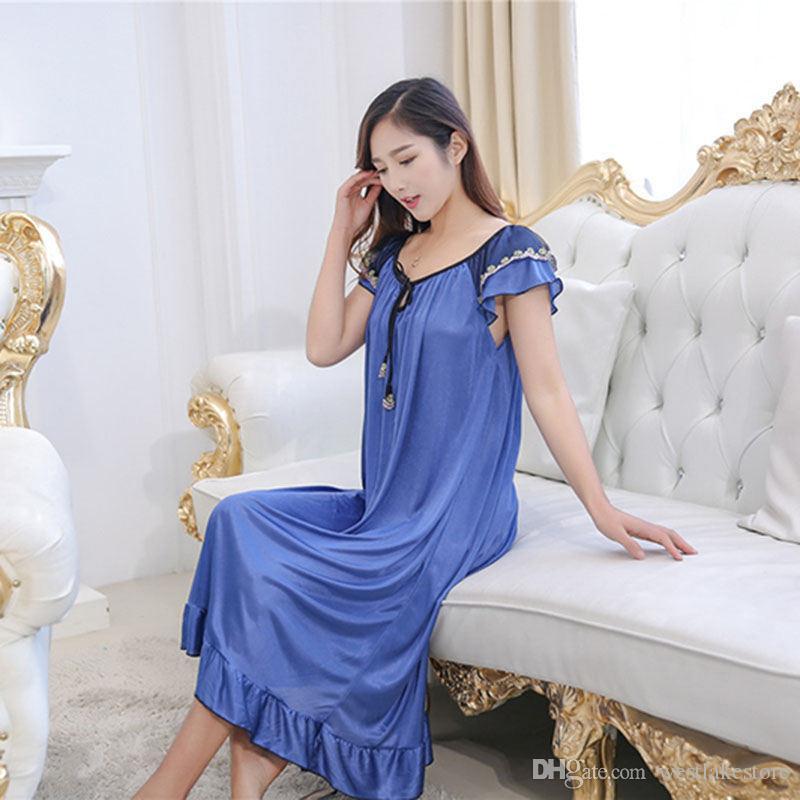 Perspectiva sexy Longo das Mulheres Sleepwear Feminino Faux Silk Satin Nightdress Plus Size Sexy Nightwear para Senhoras
