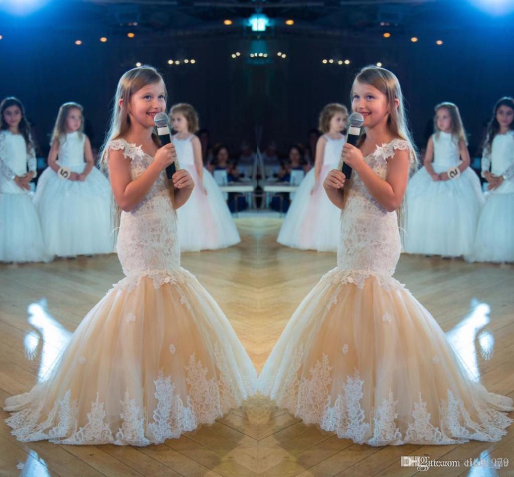 Bonito Sereia Meninas Pageant Vestidos de Renda Applique Sem Mangas Baratos Flor Meninas Vestidos Crianças Organza V Pescoço Crianças Vestido de Aniversário