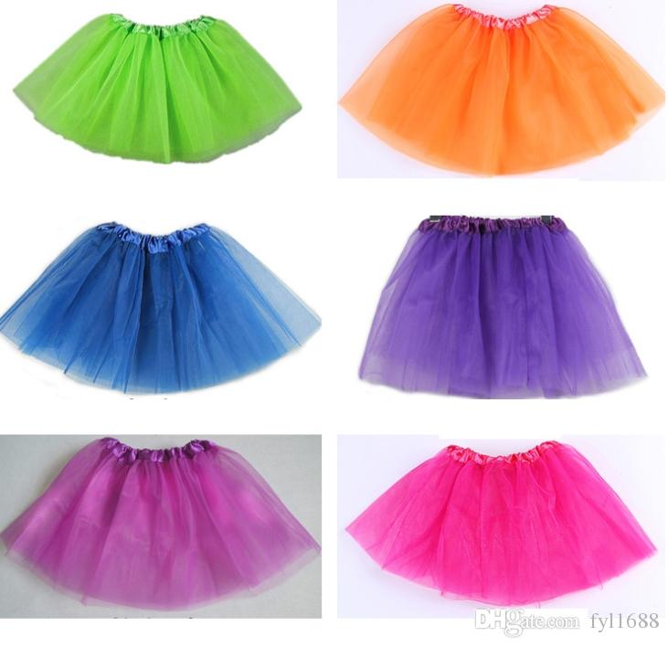 Hot Selling Girls 14 Colors Candy Color Kids Tutus Skirt Dance Dresses Soft Tutu Dress 3layers Children Clothes Skirt Princess