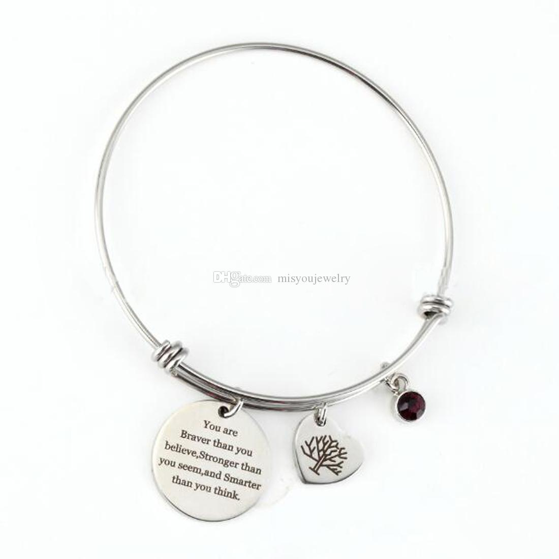 Stainless Silver inspirational Bangle Charm Bracelet You Are Braver Than You Believe Birthstone life Tree Bracelets jewelry Gifts