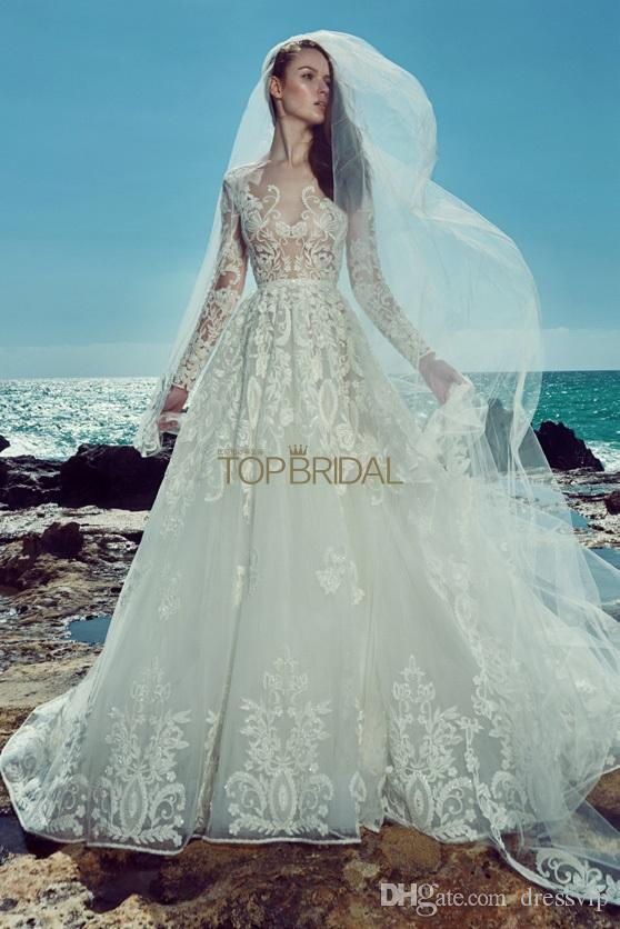 Discount 2018 Elie Saab Bohemian Wedding Dresses Jewel Neck Lace ...