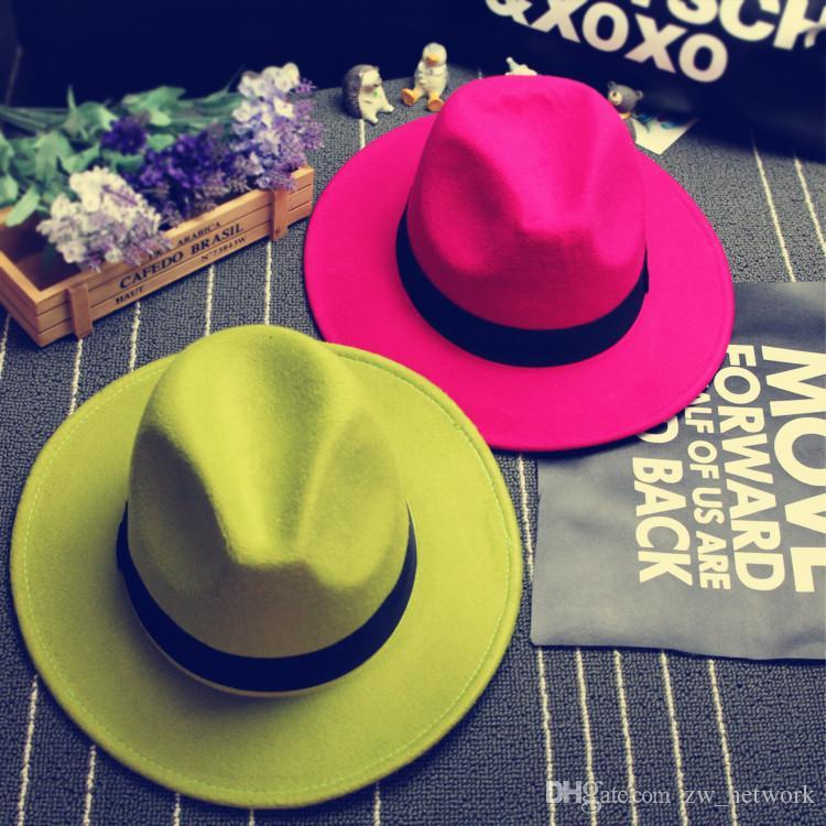 New Fashion Retro Felt cappello jazz TOP cappelli per uomo donna Elegante Solid feltro Fedora Hat Band Wide Flat Brim Jazz Cappelli Panama Caps