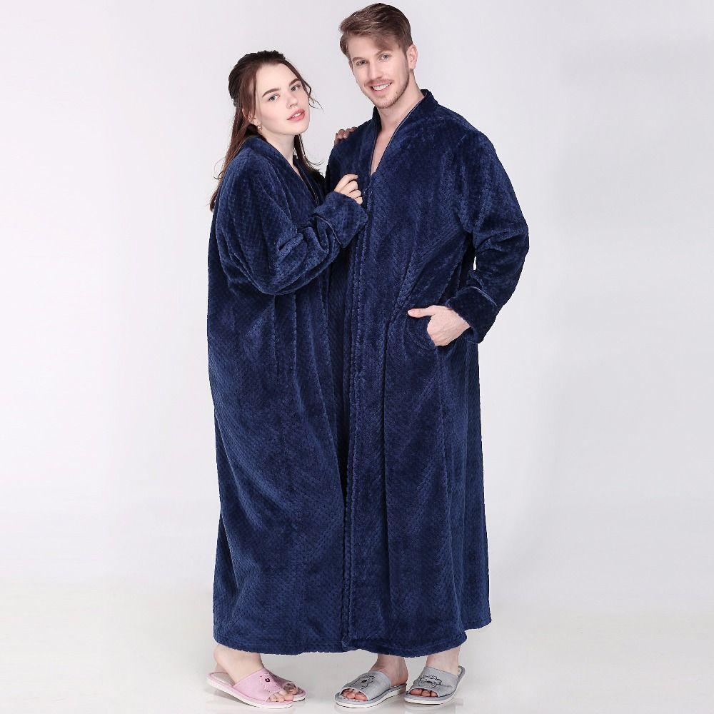 Hombres Mujeres Invierno cremallera extra larga espesa rejilla franela cálida bata de baño más el tamaño suave albornoz térmica bata túnicas masculinas