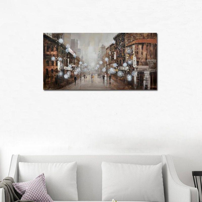Pittura a olio fatta a mano del paesaggio astratto della via della città sull'immagine del centro della parete del paesaggio della città dipinta a mano della tela per il salone